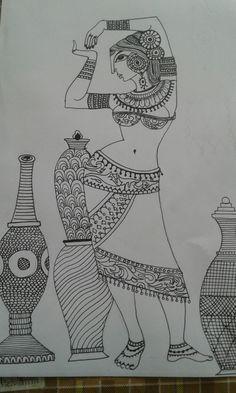 Madhubani Paintings Peacock, Kalamkari Painting, Madhubani Art, Pichwai Paintings, Indian Art Paintings, Pencil Art Drawings, Art Drawings Sketches, Sketch Art, Book Drawing