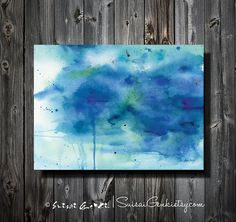 Blue Melody Blue Ocean Abstract Watercolor painting by SuisaiGenki, $20.00