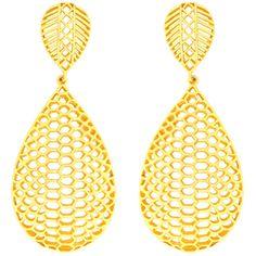 Viyari Goldtone Honeycomb Dangle Earrings