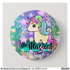 Be Magical Unicorn in Galaxy of Stars Button #Onmeprints #Zazzle #Zazzlemade #Zazzlestore #Zazzleshop #Zazzlestyle #Magical #Unicorn #Galaxy #Stars #Button Holiday Cards, Christmas Cards, Star Buttons, Magical Unicorn, School Fun, Christmas Card Holders, Cute Designs, Hand Sanitizer, Puzzles