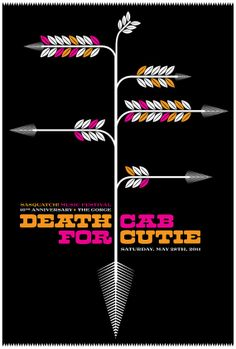 Rock poster - Death Cab For Cutie - limited edition hand silkscreen printed gig poster
