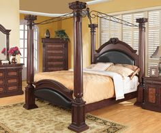 202201Q  Grand Prado Queen Canopy Bed Complete W/ HDBD, FTBD, Rails & Canopy Cherry & Black