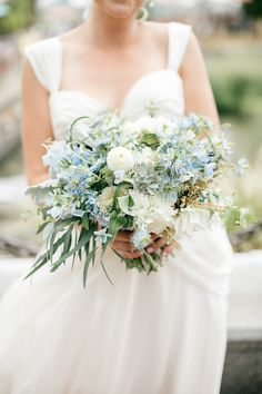 blue, green, and white bouquet, photo by Emily Wren http://ruffledblog.com/front-palmer-philadelphia-wedding #weddingbouquet #flowers