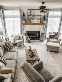 Living Room- Shop my home! By Wilshire Collections Home decor ideas, Farmhouse, Farmhouse decor, decorating, decorating styles home living room Shop my home Winter Living Room, Living Room With Fireplace, Home And Living, Modern Living, Small Living, Design Living Room, Living Room Shop, Rustic Living Rooms, Rustic Living Room Decor