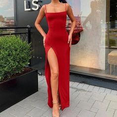 Item specifics Silhouette: Sheath Sleeve Length(cm): Sleeveless Sleeve Style: Spaghetti Strap G Fall Dresses, Prom Dresses, Formal Dresses, Look Fashion, Fashion Outfits, Maxi Robes, Spaghetti Strap Dresses, Classy Outfits, Bodycon Dress