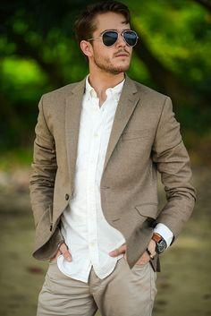 Dark Oatmeal / Brown Blazer . White Oxford Shirt . Dark Beige / Stone Chinos . Brown Watch