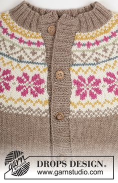 Knitted DROPS jacket with round yoke and Norwegian pattern in Lima. Free pattern by DROPS Design. Baby Cardigan Knitting Pattern Free, Fair Isle Knitting Patterns, Knitted Baby Cardigan, Christmas Knitting Patterns, Sweater Knitting Patterns, Drops Design, Knitting For Kids, Free Knitting, Fair Isles