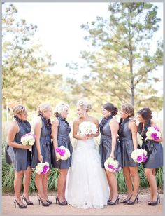 Gray Bridesmaids Dresses ~ Photo: Kelly Hornberger Photography #bridesmaid #bride #wedding