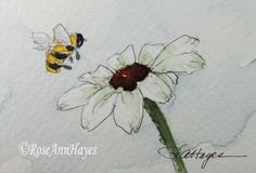 Original Watercolor Painting Daisy and Bumble Bee by RoseAnnHayes