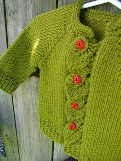 Hand Knit Baby Ladybug Cardigan by WarmWoolenWishes on Etsy