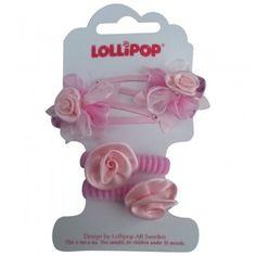 NEW-Hair clips & mini hairties satin flower