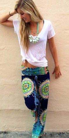 Stylish Mid-Waisted Boho Print Loose-Fitting Exumas Pants at a reasonable price!