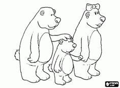 Een familie van beren, Papa Beer, Mama Beer en hun zoon wonen in een mooi huis in het bos kleurplaat