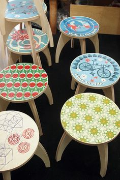 IKEA stools and decoupage
