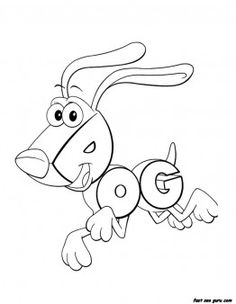 Print out animals alphabet worksheets Dog - Printable Coloring Pages For Kids