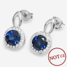 2.5ct Blue Sapphire Stud Earrings Real Genuine 925 Sterling Silver Only $39.66 => Save up to 60% and Free Shipping => Order Now! #Bracelets #Mystic Topaz #Earrings #Clip Earrings #Emerald #Necklaces #Rings #Stud Earrings