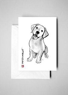 Labrador Retriever Card w/ Envelope,International Dog Sumi-e Painting Illustration Asia Canada Pet Zen Art Cute Ink Drawing Puppy Lover Cute Drawings, Drawing Sketches, Golden Retriever Art, Puppy Drawing, Tattoo Und Piercing, Desenho Tattoo, Zen Art, Ink Illustrations, Elements Of Art