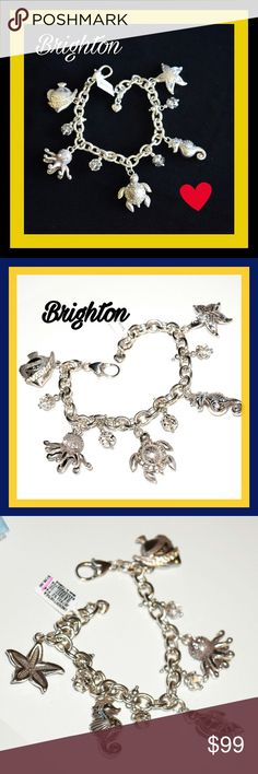 """New Brighton Under the Sea Ocean Charm bracelet Brighton - Under the Sea  Style:?JB7832  With hints of subtly-hued Swarovski, this silver charm bracelet is an ode to the sea with a turtle, seahorse, starfish, octopus, and fish  This bracelet is gorgeous.  W: 1 1/4""""L: 7 1/2"""" - 8 1/2"""" Adjustable Closure: Lobster Claw Material: Swarovski crystal Finish: Silver plated   Each charm has beautiful different colored swarovski crystals Brighton  Jewelry Bracelets"""
