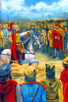 Battle of Melitena. Appeal of the Byzantine commander to the army before the battle. Oriental, Basic Painting, Medieval Times, Dark Ages, Roman Empire, Byzantine, Muay Thai, Warfare, Warriors