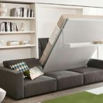 Here is another space-saving piece of furniture from Resource Furniture. The Swing is a self-standing wall bed with a sofa and sliding chaise. Queen Murphy Bed, Murphy Bed Desk, Murphy Bed Plans, Murphy Bed With Sofa, Sofa Bed, Sectional Sofa, Murphy-bett Ikea, Resource Furniture, Furniture Ideas