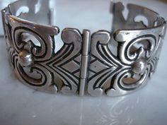 Antique Art Deco Mexican Mexico Sterling Silver Bracelet Pin Closure Heavy