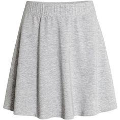 Circle Skirt $12.99 (605 DOP) ❤ liked on Polyvore featuring skirts, h&m, short flared skirt, skater skirt, short skirts, grey skirt and elastic skirt