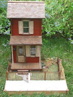 kahden kerroksen väkeä / Custom Dollhouses by Liz Fairy Houses, Play Houses, Doll Houses, Miniature Rooms, Miniature Houses, Red Farmhouse, Mini Doll House, Dollhouse Miniatures, Dollhouse Design