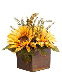 Found it at Wayfair - Sunflower Maple Ber in Tree Pot Rustic Flowers, Faux Flowers, Small Flowers, Small Flower Arrangements, Sunflower Arrangements, Fall Arrangements, Sunflower Centerpieces, Wedding Centerpieces, Floral Arrangements