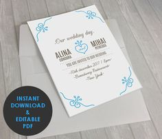 Wedding Invitation PDF Editable Invitation Simple by MellyBoutique
