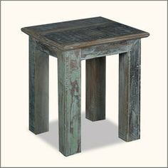 "Rustic 15"" Square Reclaimed Wood Night Stand End Table"