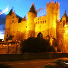Antwerp Castle glows at night.