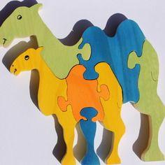 Puzzle en bois 3d dromadaire et son petit : brut ou peint