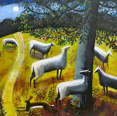 Mary Sumner, Moonlit Sheep - Animalarium
