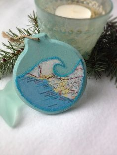 $18.00 Ocean Wave California Beaches Map Christmas Ornament - Ventura, Oxnard, Port Hueneme, Channel Islands Harbor, San Buenaventura State Beach