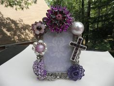 POP A TOP Purple Rhinestone Jeweled Picture Frame by MyInnerPrincess on Etsy, $44.95