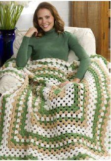 Weekend-Wonder Giant Granny Square Throw  (By: Katherine Eng for Red Heart Yarn) - favecrafts.com