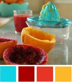 turquoise red yellow orange