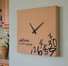 Always late clock - perfect for me; Always Late, Cool Clocks, Unusual Clocks, Diy Clock, Clock Ideas, Clock Art, Clock Painting, Clock Decor, Wall Decor