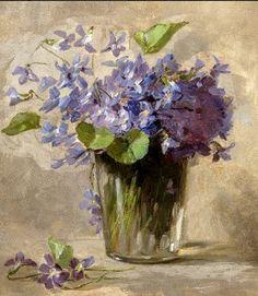Still Life of Violets by Anna Eliza Hardy (1869-1934)