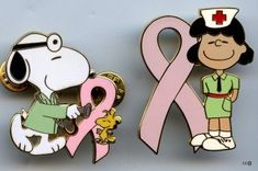 SNOOPY DOCTOR lucy nurse PINK RIBBON PIN green scrub