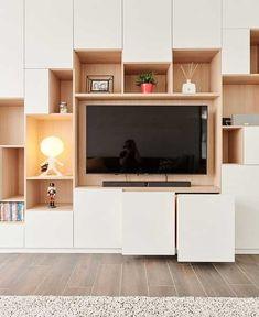 Wall Cabinets Living Room, Built In Tv Cabinet, Small Room Layouts, Cute Living Room, Living Room Tv Unit Designs, Living Room Decor Inspiration, Indian Living Rooms, Modern Home Interior Design, Furniture Design