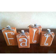 fall wooden crafts | Fall wooden block pumpkins | Craft Ideas