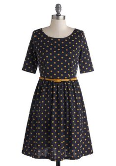 Drops of Honey Dress by Yumi - Mid-length, Knit, Blue, Yellow, Polka Dots, Belted, Casual, A-line, Short Sleeves, Better, International Designer, Scoop