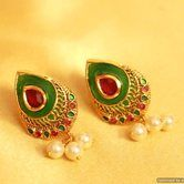 Multicolor Polki & Pearl Earrings