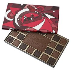 Awesome Red Dragon Abstract Box of Chocolates #dragons #red #chocolates #abstract #art And www.zazzle.com/inspirationrocks*