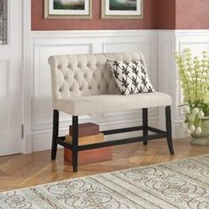 Darby Home Co Tomasello Transitional Counter Height Bench Upholstery: Ivory Living Room Sets, Living Room Furniture, Low Console Table, Counter Height Bench, Settee Dining, Dining Room, Storage Bench With Cushion, Kitchen Seating, Luxury Chairs