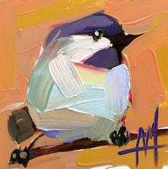 Chickadee no. 818 original bird oil painting by Angela Moulton 4 x 4 inch