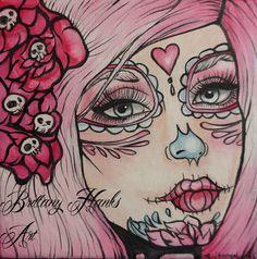 Day of the Dead Dia de los muertos Rockabilly Pin Up girl pink hair Lowbrow Tattoo art PRINT  pink   sugar skulls