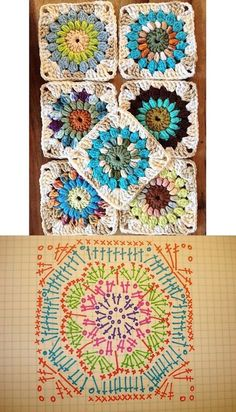 Ideas For Crochet Granny Square Easy Hooks Crochet Bedspread Pattern, Crochet Mandala Pattern, Crochet Blocks, Granny Square Crochet Pattern, Crochet Diagram, Crochet Stitches Patterns, Crochet Chart, Crochet Squares, Crochet Granny