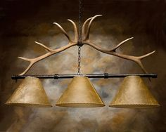 Handcrafted in Wyoming Rustic Authentic Antler Pool Table/Bar/Counter Lighting Chandelier High Quality Rawhide and Hand Forged Iron.| Windowpane & Brick